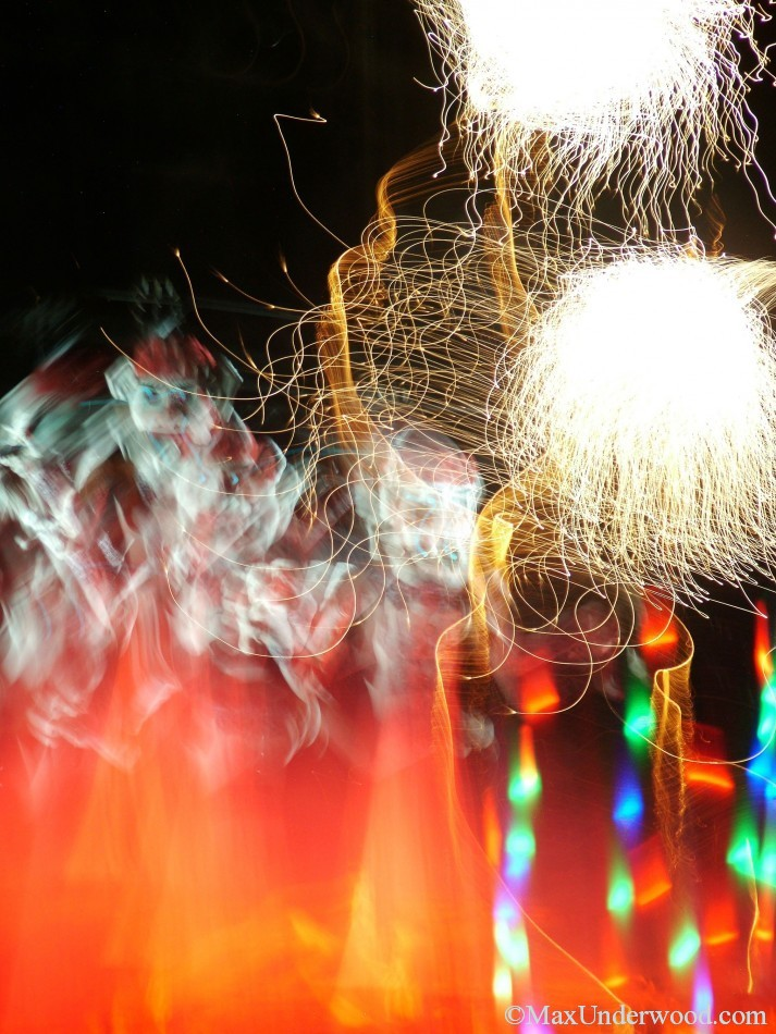 Fireworks abstract light, Zozobra fiestas, Santa Fe, NM, colorful and vibrant photography.