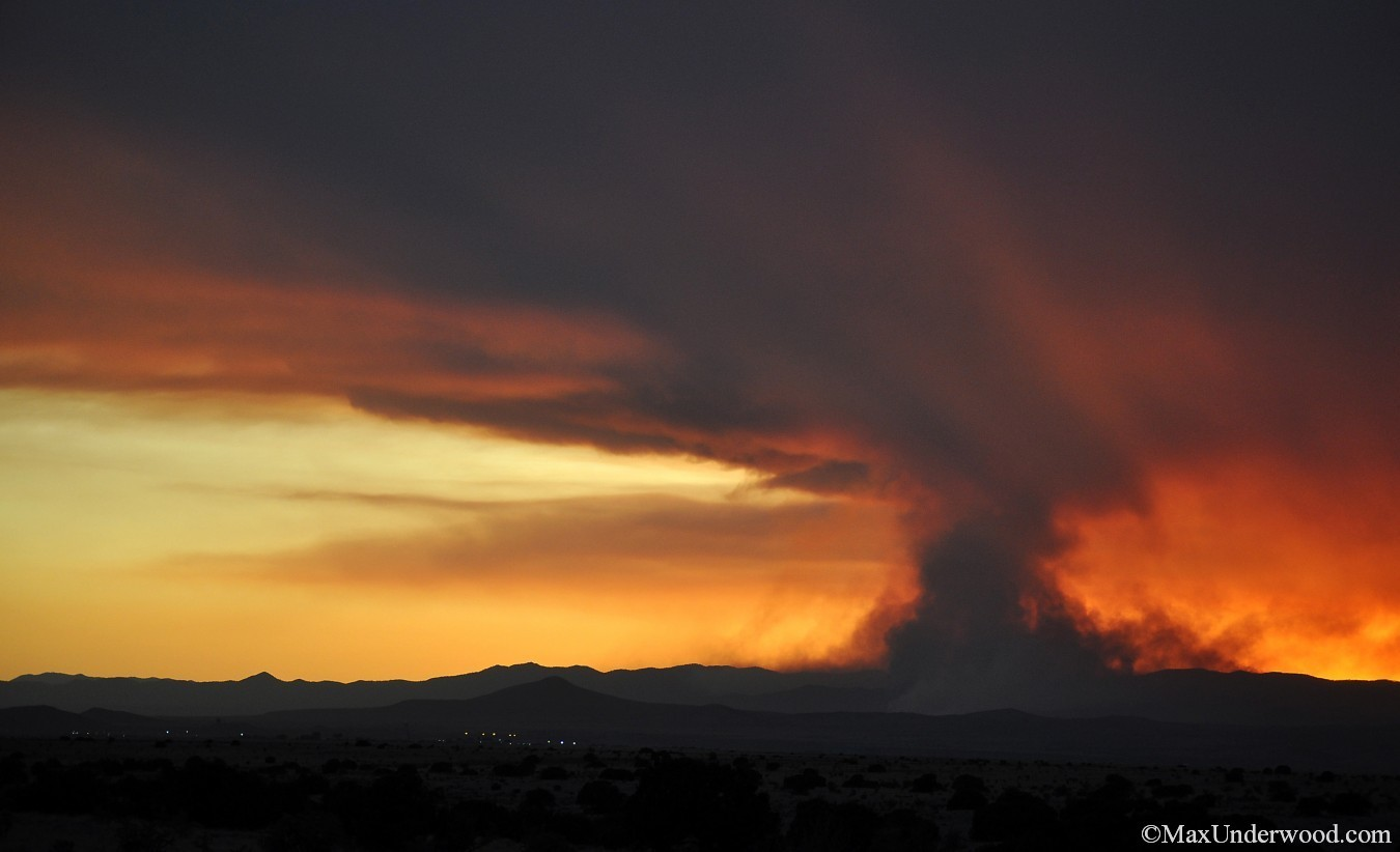 Forest fire in New Mexico at sunset, southwest landscape phoypgraphy.