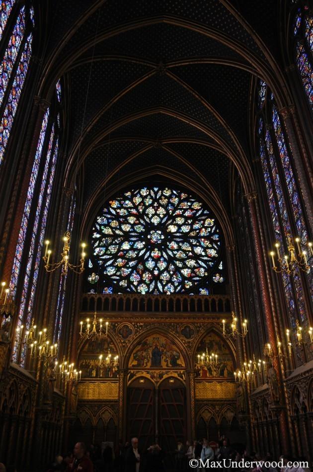 St. Germain Church interior, Paris France, stained glass windows, candelabras.