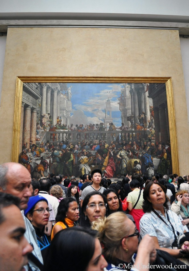Wedding feast at Cana, Veronese, Louvre, Paris France. Crowd at the Louvre museum. Mona Lisa. room.