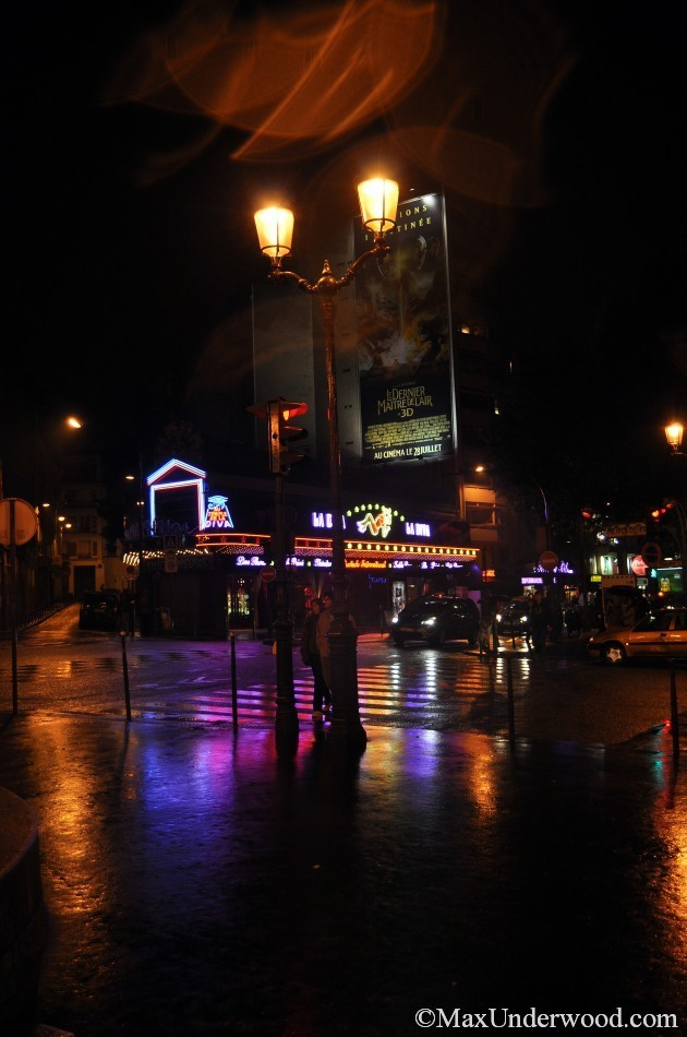 Paris streets at night,street lamp, people, Momarte, wet road, shiny colorful lights.