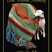 Gretel Underwood Handweaving Poster,whippet with throw. Santa Fe, NM