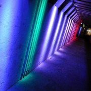 Light tunnel bridge at night, Albuquerque, NM. Colorful cityscapes, New Mexico.