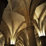 Bastille interior, Paris, France. Vaulted Arches, architecture.