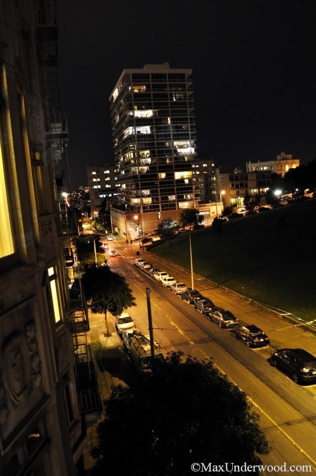 San Francisco streets at night, buildings, Octavia/Sacramento St. California cityscape photography.