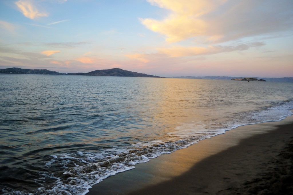 San Francisco bayside, ocean water, Alcatraz Island, California