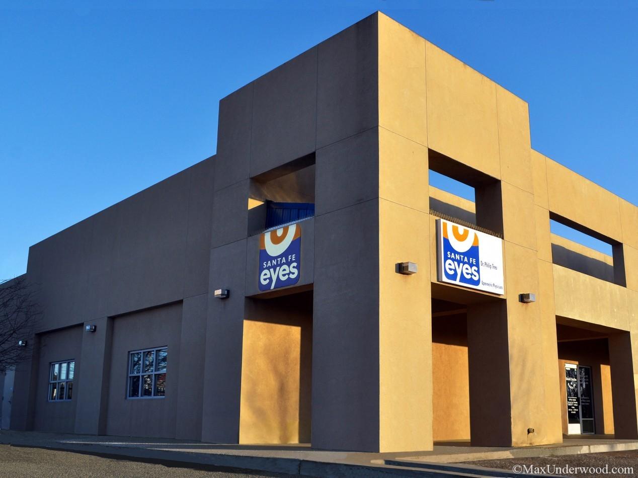 Building facade at Allegro Plaza, Santa Fe, NM. Santa Fe Eyes business location