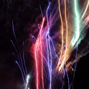 Fireworks abstract light, Zozobra fiestas, Santa Fe, NM, colorful and vibrant