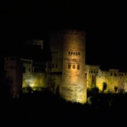 Alhambra Palace at night, Granada, Andalusia, Spain. The Red Fortress
