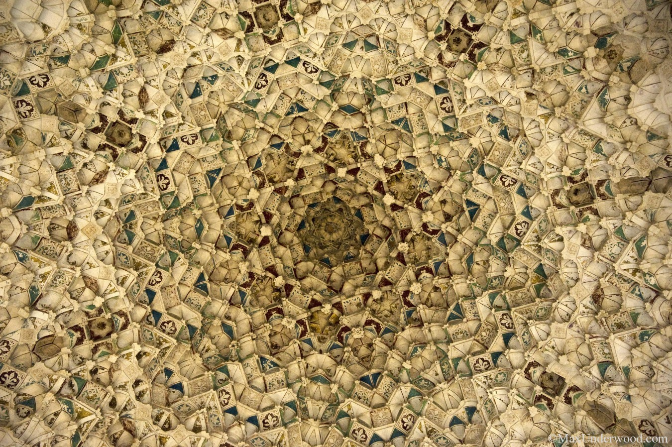 Ceiling detail, Hall of Two Sisters in Palace of the lions, Alhambra palace, Granada, Spain